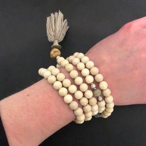 Silver & Sage mala beads